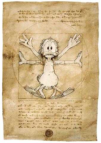 """Leonardo da Vinci Zeichnung Sonderausstellung """"Duckomenta"""" im Archäologischen Museum Hamburg Copyright: interDuck"""
