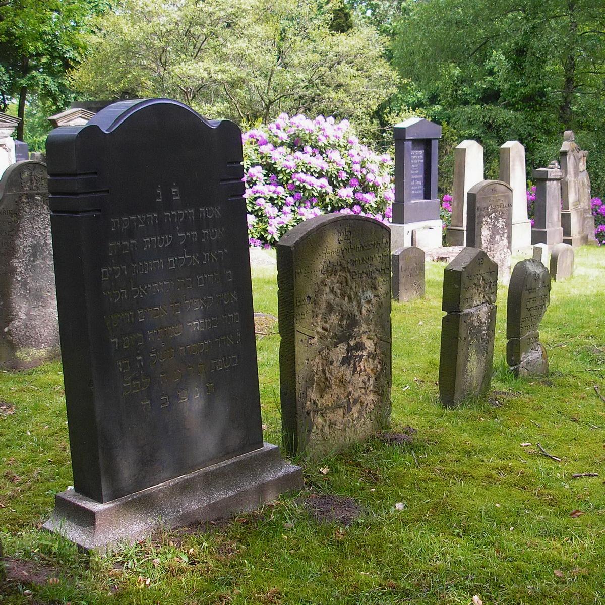 Grabsteine mit hebräischer Schrift auf einer Friedhofswiese
