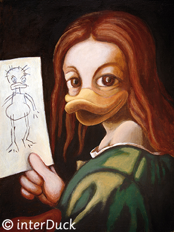 """Kind mit Zeichnung Sonderausstellung """"Duckomenta"""" im Archäologischen Museum Hamburg"""