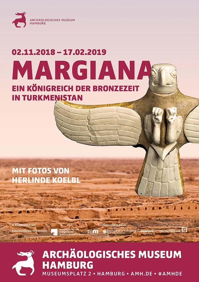 Plakat für die Sonderausstellung Margiana im Archäologischen Museum Hamburg 2018