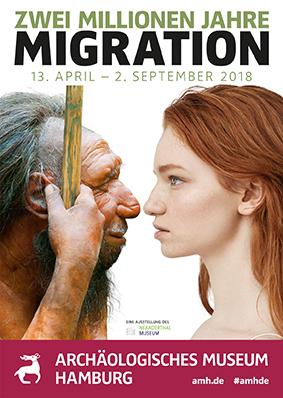 """Plakat der Sonderausstellung """"Zwei Millionen Jahre Migration"""" im Archäologischen Museum Hamburg"""
