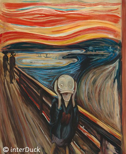 """Der Schrei von Munch in der Sonderausstellung """"Duckomenta"""" im Archäologischen Museum Hamburg Copyright: interDuck"""