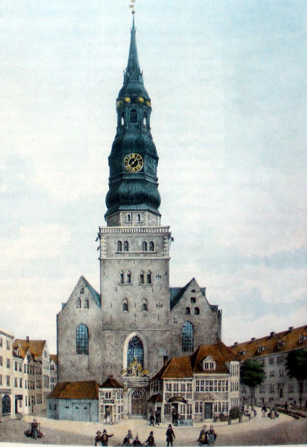 St. Nikolai vor dem Großen Brand 1842, kolorierte Lithografie um 1835 von Peter Suhr (1788-1857)