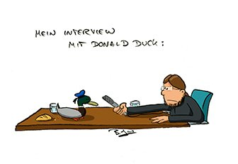 Ausstellungsbesuch mit Donald Duck und Peter Krause